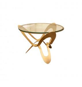 Tavolo con ripiano in vetro Ninfa Oro